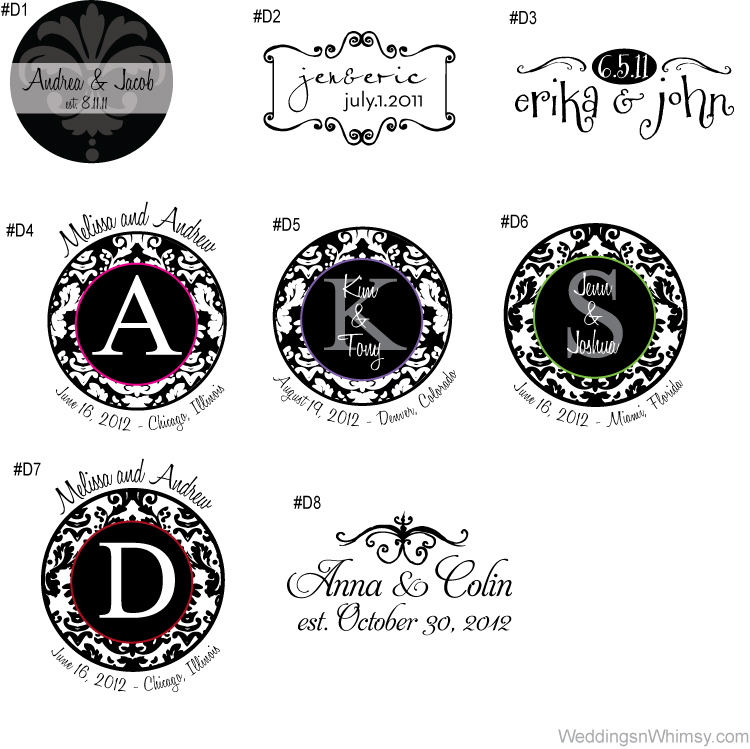 monograms logos wedding event custom personalized damask flourish decorative