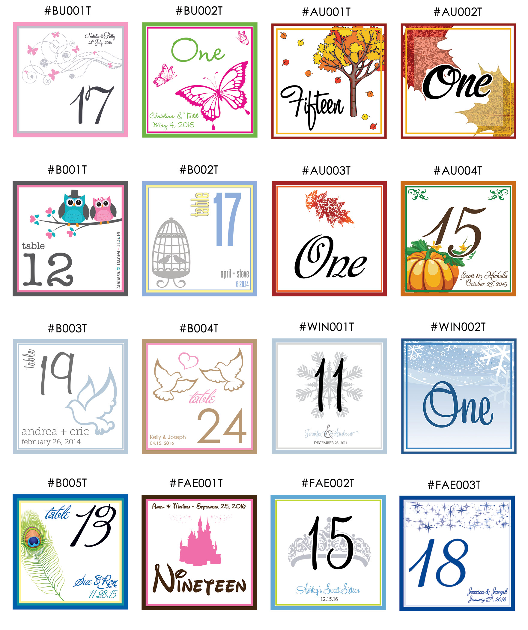Table number designs for Table design numbers